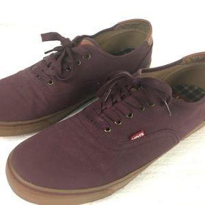 Levis Mens Burgundy Maroon Canvas Shoes Size 13